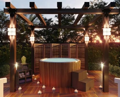 Este projeto é ao mesmo tempo romântico e bucólico. A banheira ofurô de acrílico redonda com acabamento externo de madeira, foi instalada em uma pérgola de madeira. A decoração com velas é um convite ao relaxamento total.